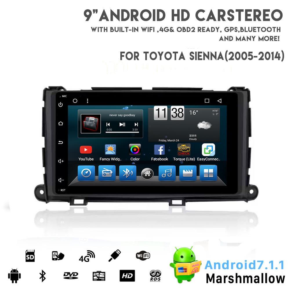 Vshauto Eightcore Android8.1 aluguer de DVD de vídeo para Toyata Sienna 2010-2014