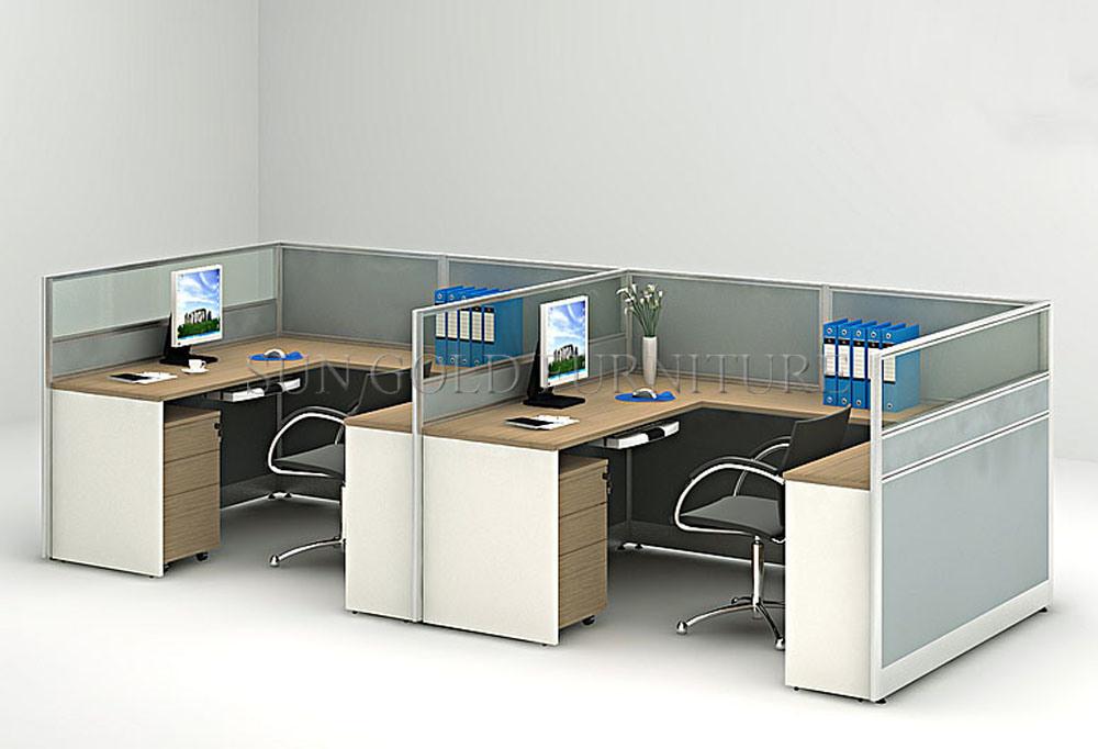L aluminium moderne en forme de u bureau de l armoire avec cloison