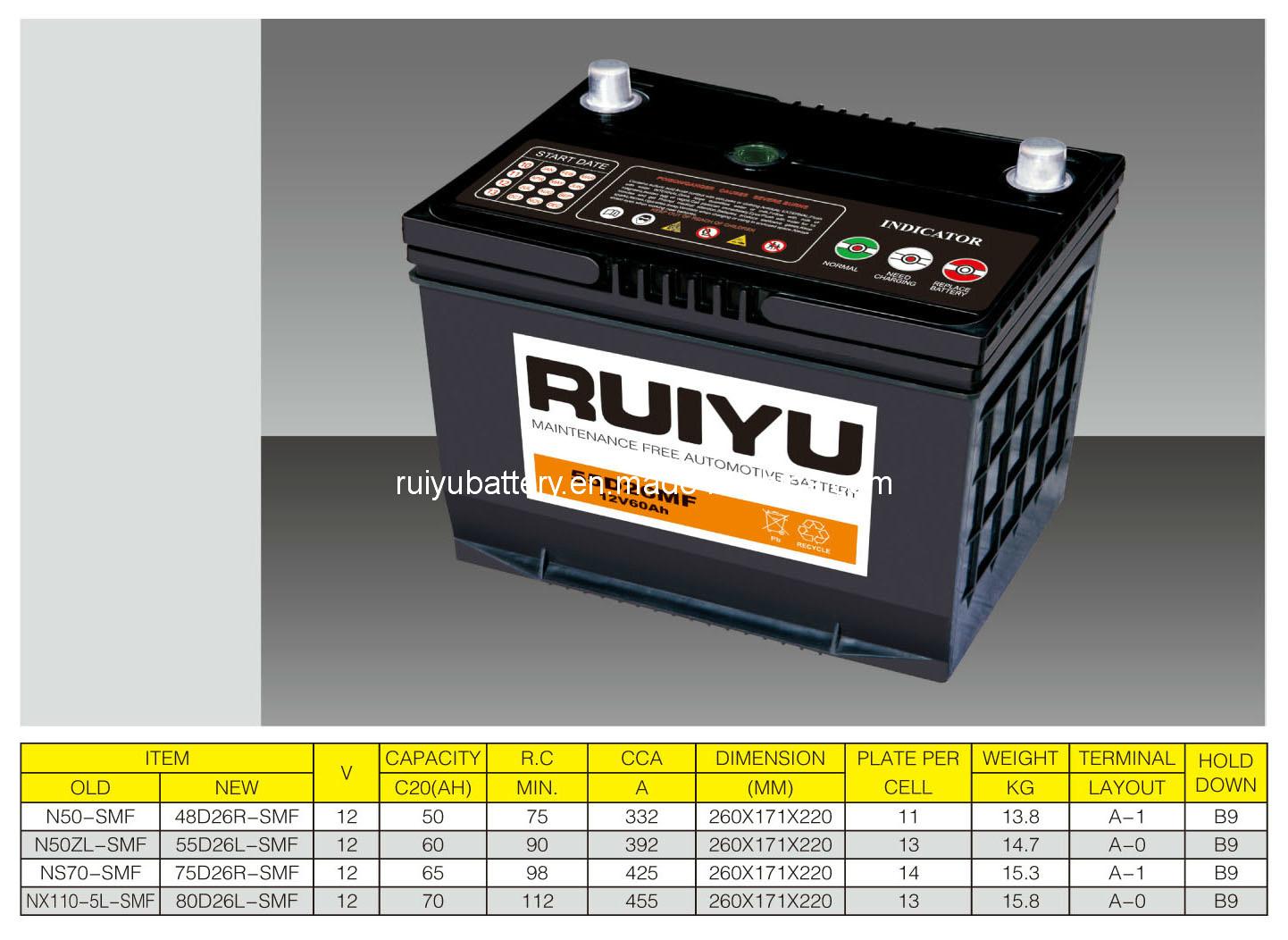 12V60AH N50ZL-SMF batterie de voiture
