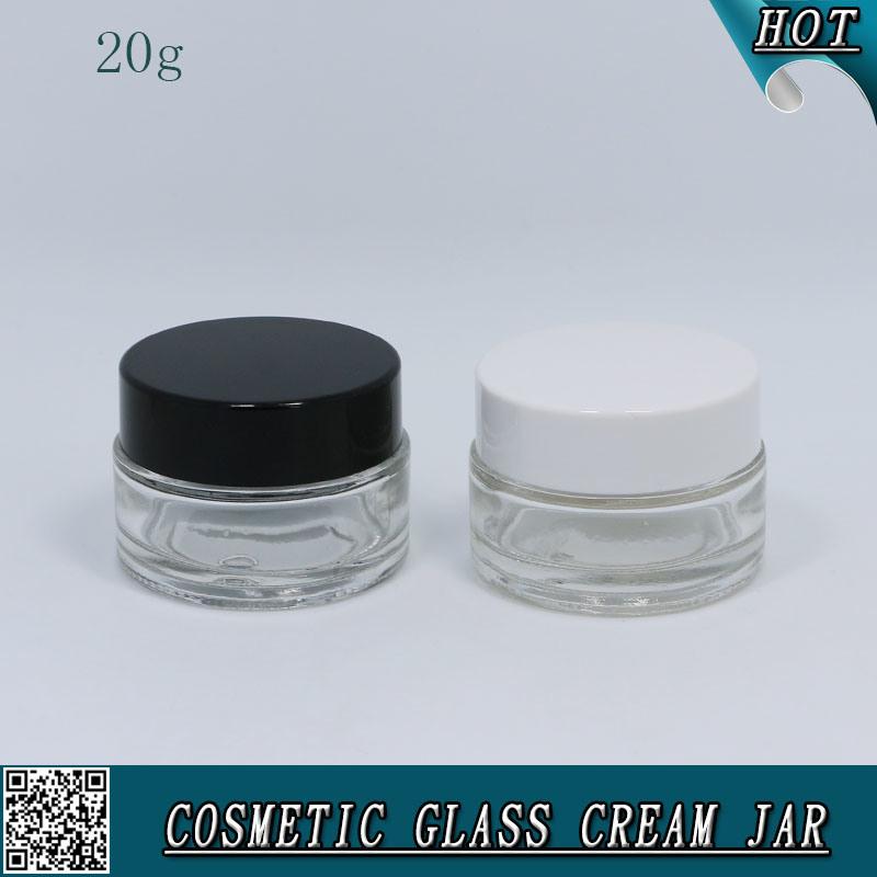 20ml vidrio claro Coemstic vacía el recipiente con tapa de plástico