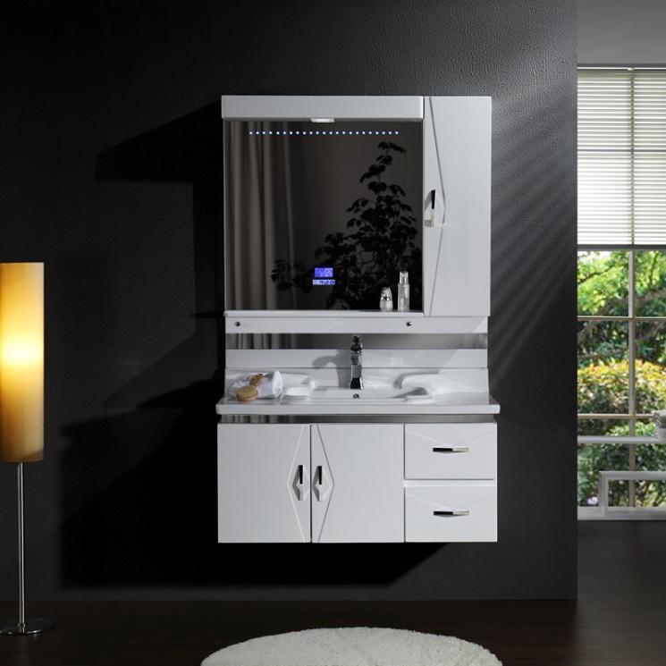 Environmemtalの保護Bluetoothの音楽プレーヤーおよび自己の吸引のスライドとの新式のカシの浴室の虚栄心