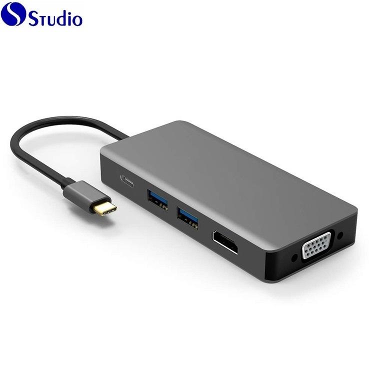 USB C aan HDMI VGA, 5 in 1 Hub van USB C, USB 3.1 Type C aan HDMI VGA USB 3.0 Pd de MultiAdapter van de Hub van Monitors