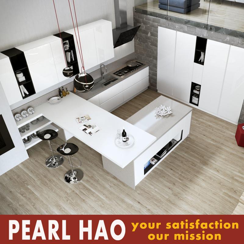 Cumplir con laca blanca negros modernos gabinetes de cocina ...