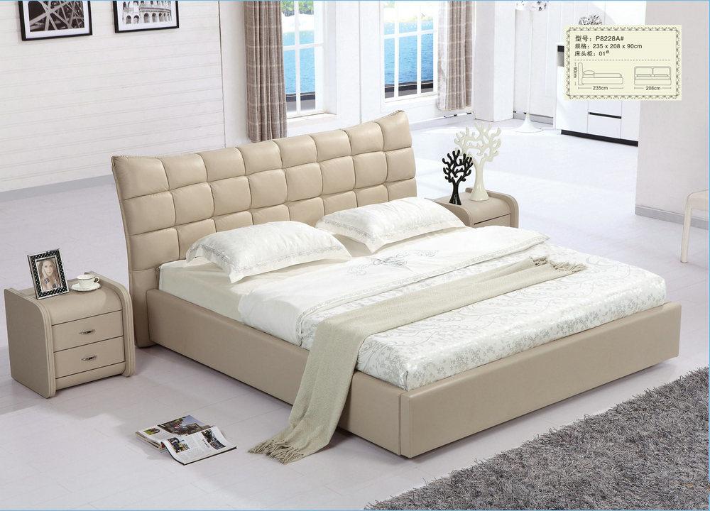 [Hot Item] Chambre moderne de couleur crème de véritables meubles lit  (P8228A)