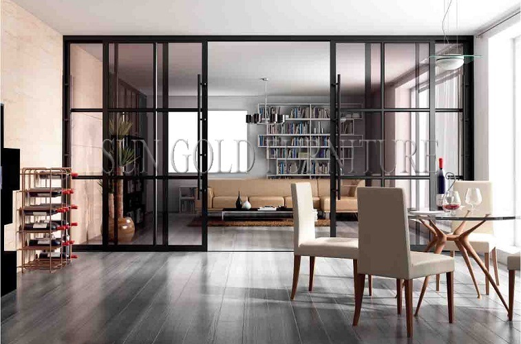 Büro Im Wohnzimmer | Modernes Buro Wohnzimmer Glasschiebetur Trennwand Sz Ws633 Foto