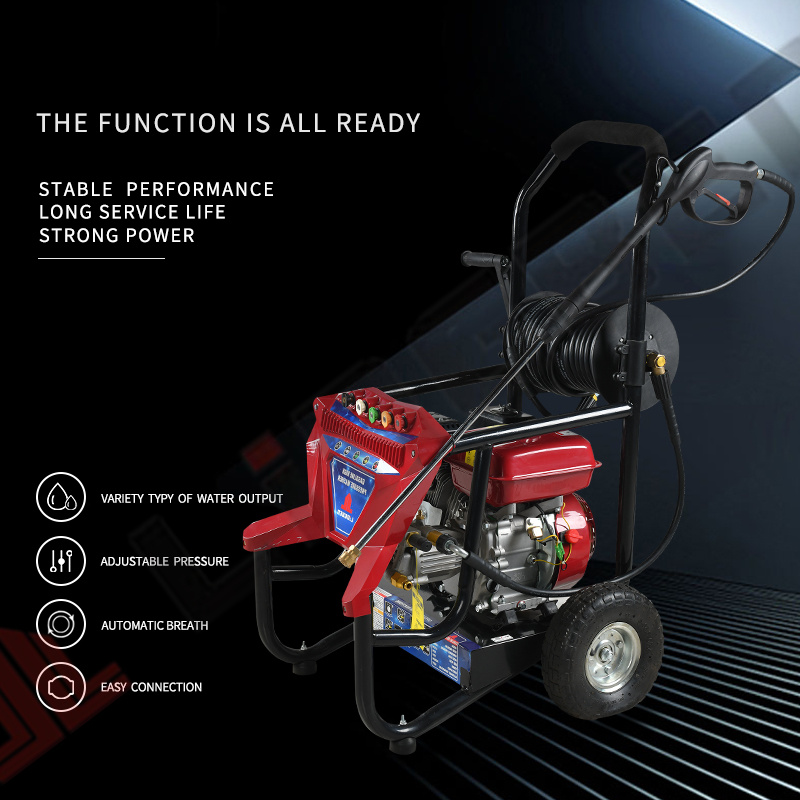 150bar Motor a gasolina gasolina elétrica de jacto de água a alta pressão aluguer de máquina de lavar roupa Limpeza do Lavador