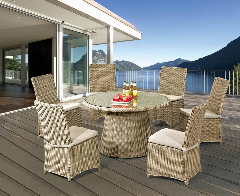 Foto de Muebles de ratán ronda comedor al aire libre juego de mesa y ...