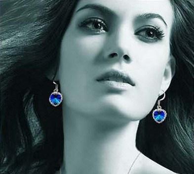 대양 파랑 수정같은 18k 금 또는 은 합금 귀걸이 장식 못의 타이탄 심혼