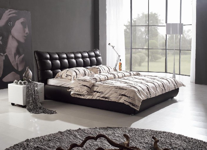 meubles de chambre coucher lit en cuir italien. Black Bedroom Furniture Sets. Home Design Ideas