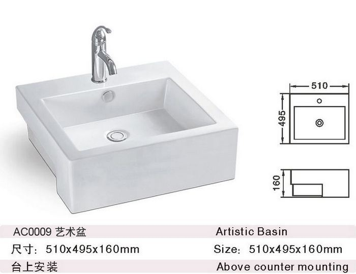 Bassin de compteur en céramique/ Bassin d'art (AC-0009)