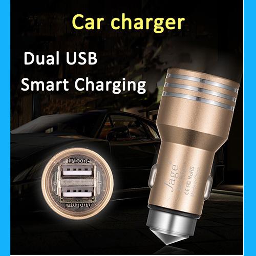 Металлические Micro всеобщей два порта USB автомобильное зарядное устройство для быстрой зарядки iPhone для Samsung для Nokia 5V 24A Mini Адаптер
