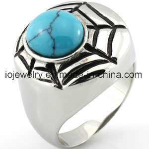 Пользовательский веб-Spide кольцо с бирюзовыми драгоценных камней