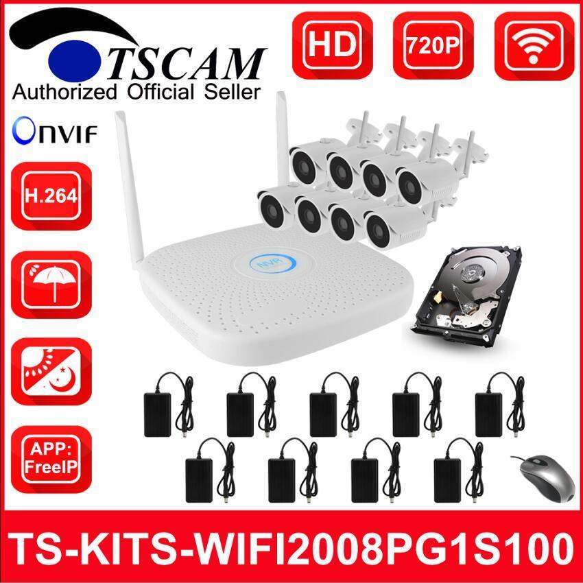 8CH 720p HD sans fil WiFi Kits NVR Bullet caméra IP