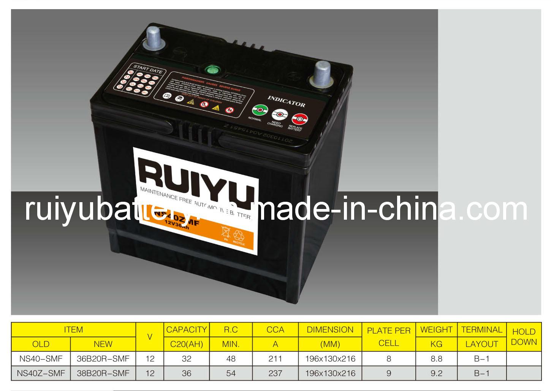 بطارية سيارة سيارة 12V36ah JIS Ns40z Automotive Battery