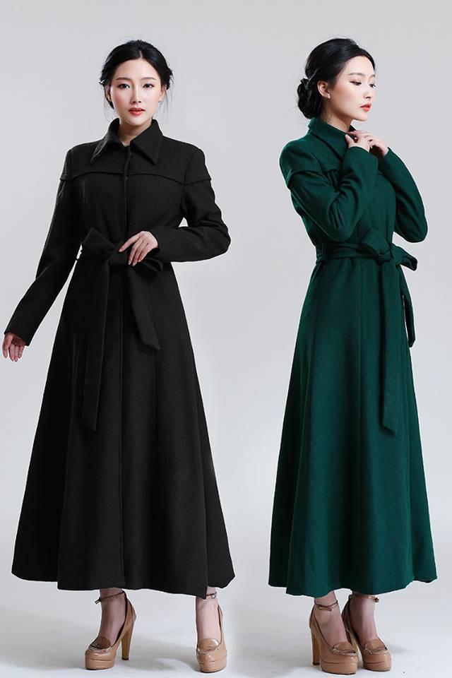 Große Revers-dünne Taillen-Woolen Oberes ragte Woolen Oberbekleidung-Weibchen Kragen-der ultra langen Paragraph-Frauen empor