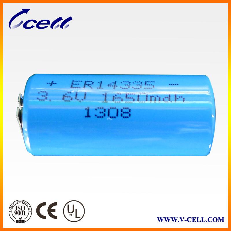 3.6V 1650mAh 2/3AA Er14335李Socl2 Cylindrical Battery