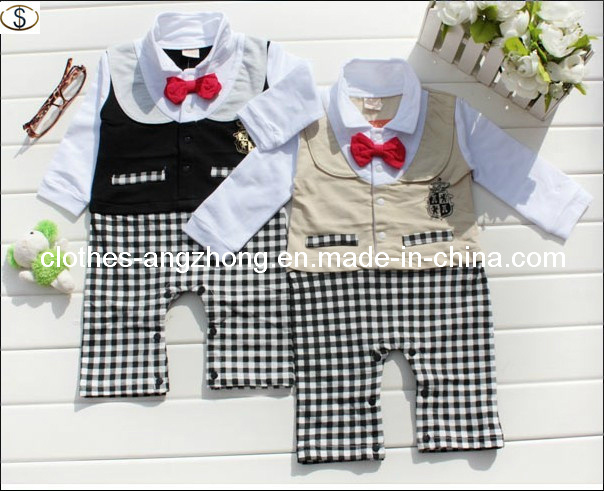 Vestuário para bebé Long-Sleeved Boy Gentleman Tie Vest falso dois gémeos siameses roupas