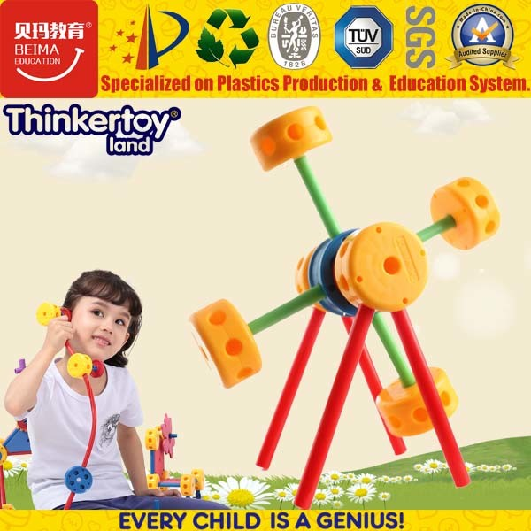 Раннее обучение пластмассовый блок с открытым зевом ветряной мельницы игрушка для детских садов
