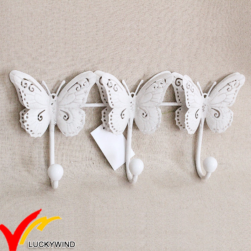 Blanco Triple Metal antiguos ganchos de mariposas para pared ...