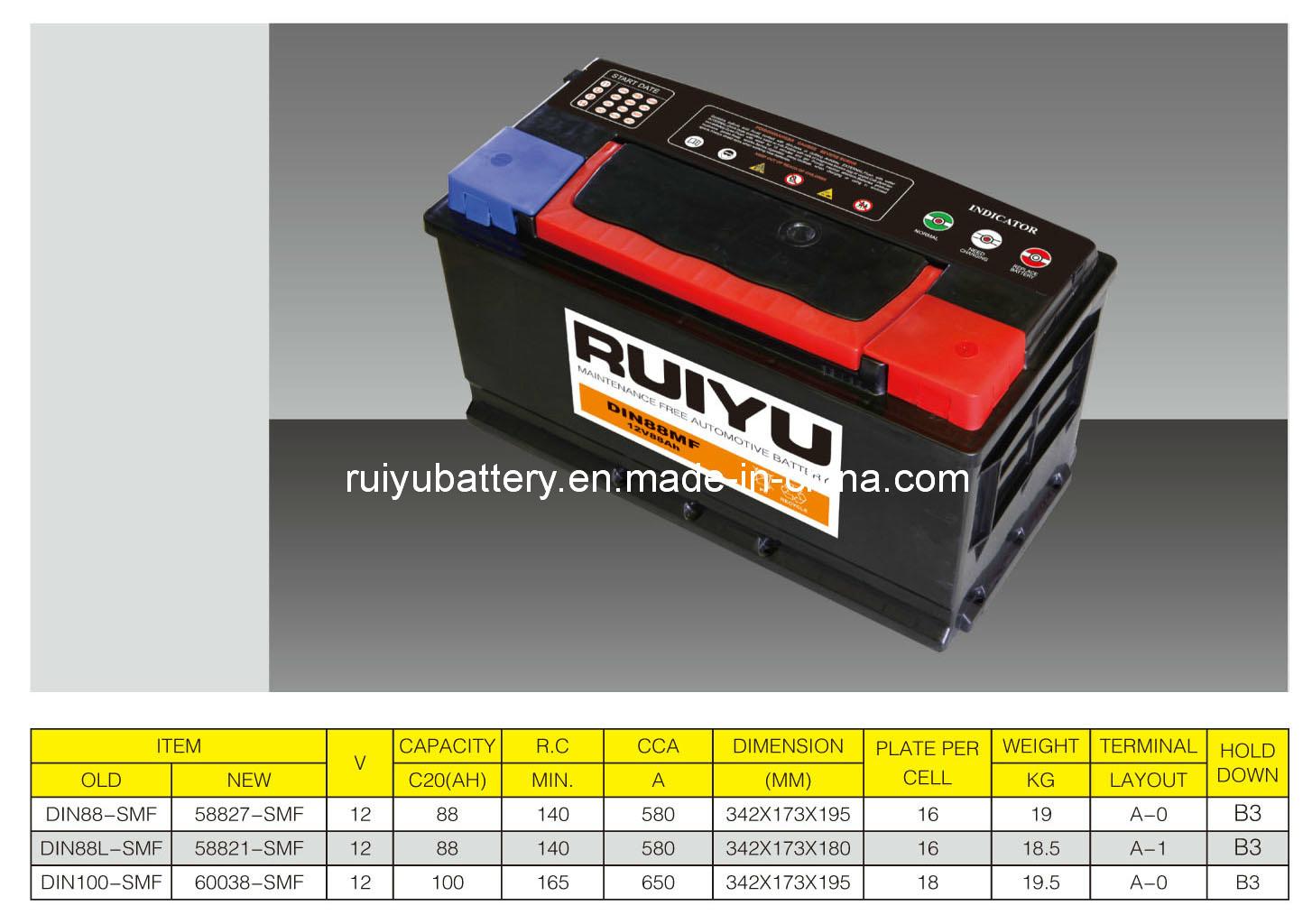 12V100AH DIN100 Batería de auto libre de mantenimiento de la batería de coche