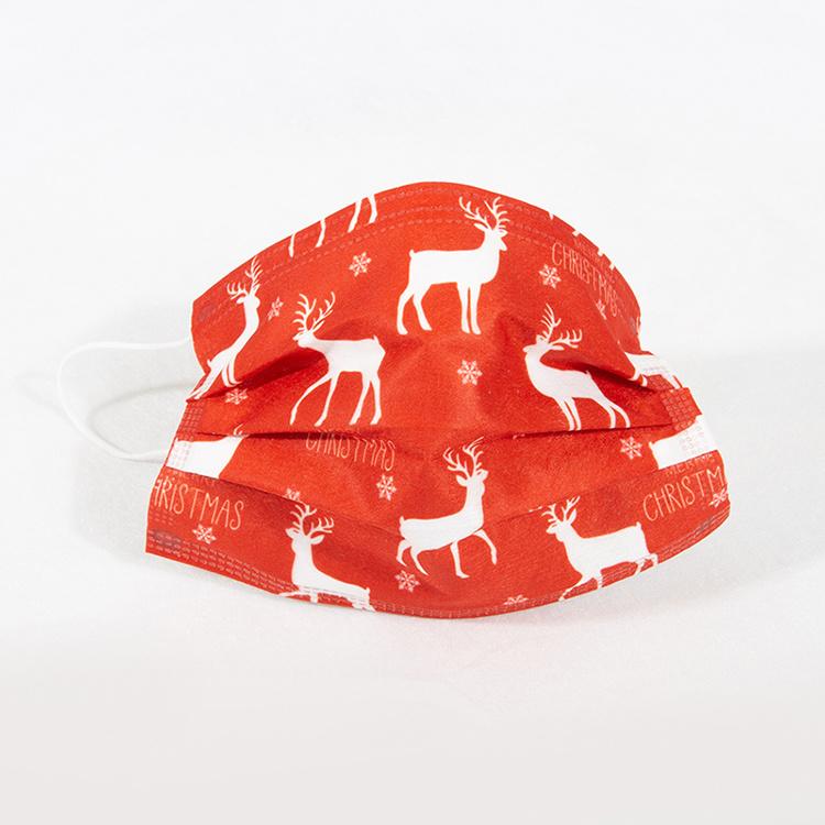 3 Camadas Non-Woven descartáveis tecido extrudado soprado fashion Natal Elk Mask