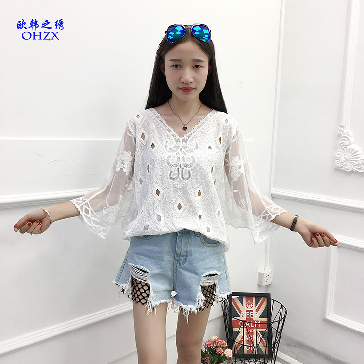 Las mujeres blancas blusa de encaje Sexy Crochet Casual Boho Playa ...