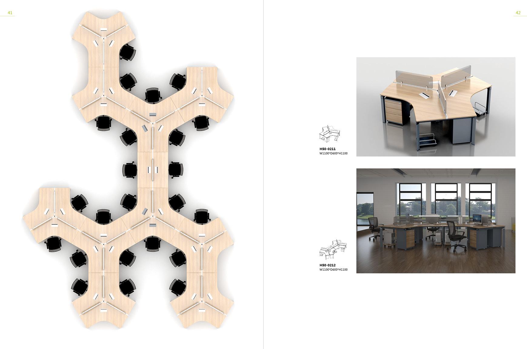 Disposition de conception espace ouvert de 3 places station de