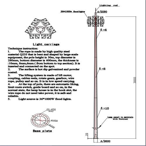 Dibujo De 30m Precio Razonable De Diseño Del Mástil De La Luz Led De Alta