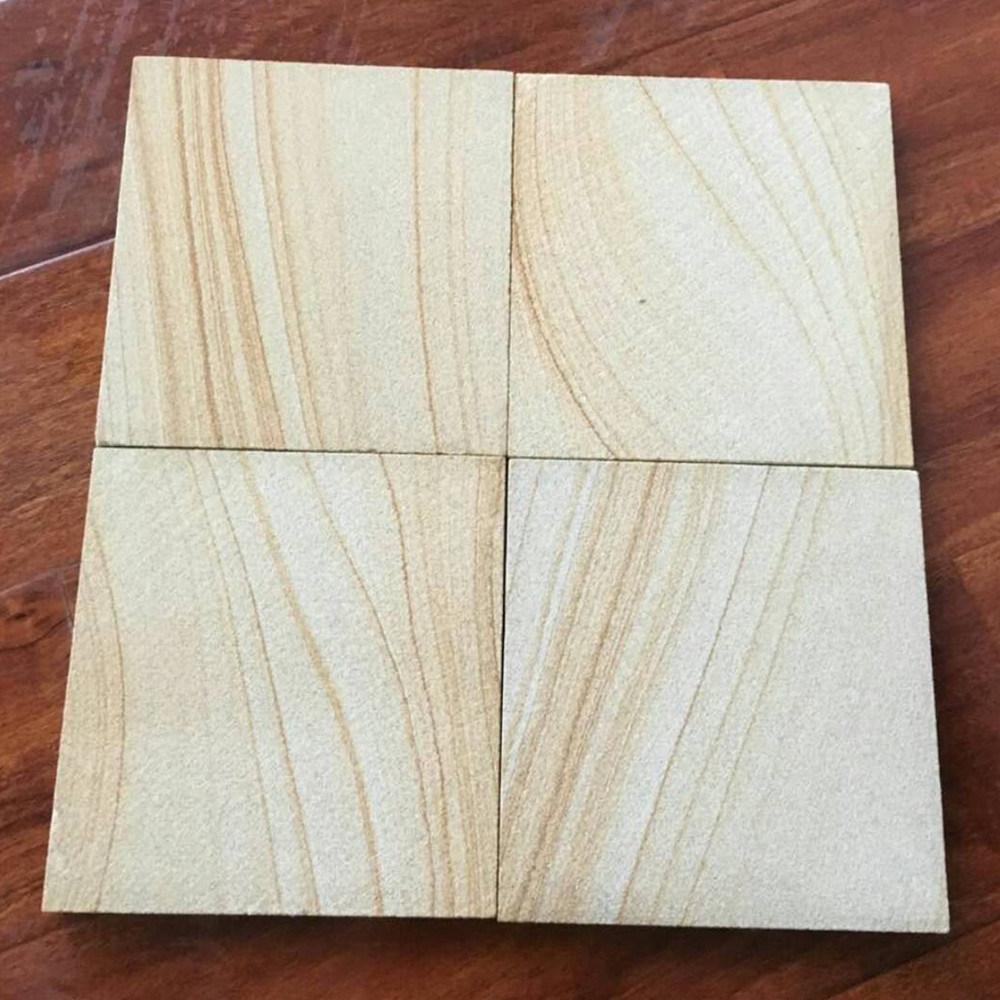 Mattonelle gialle & beige del grano di legno della vena di pavimentazione più poco costoso dell'arenaria