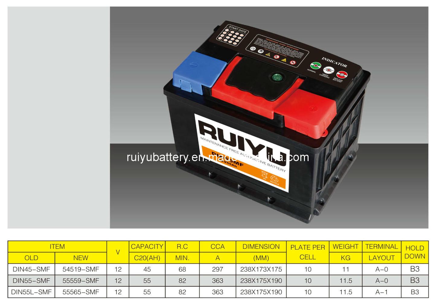 12V55AH DIN55L AUTO de la batterie sans entretien batterie de voiture