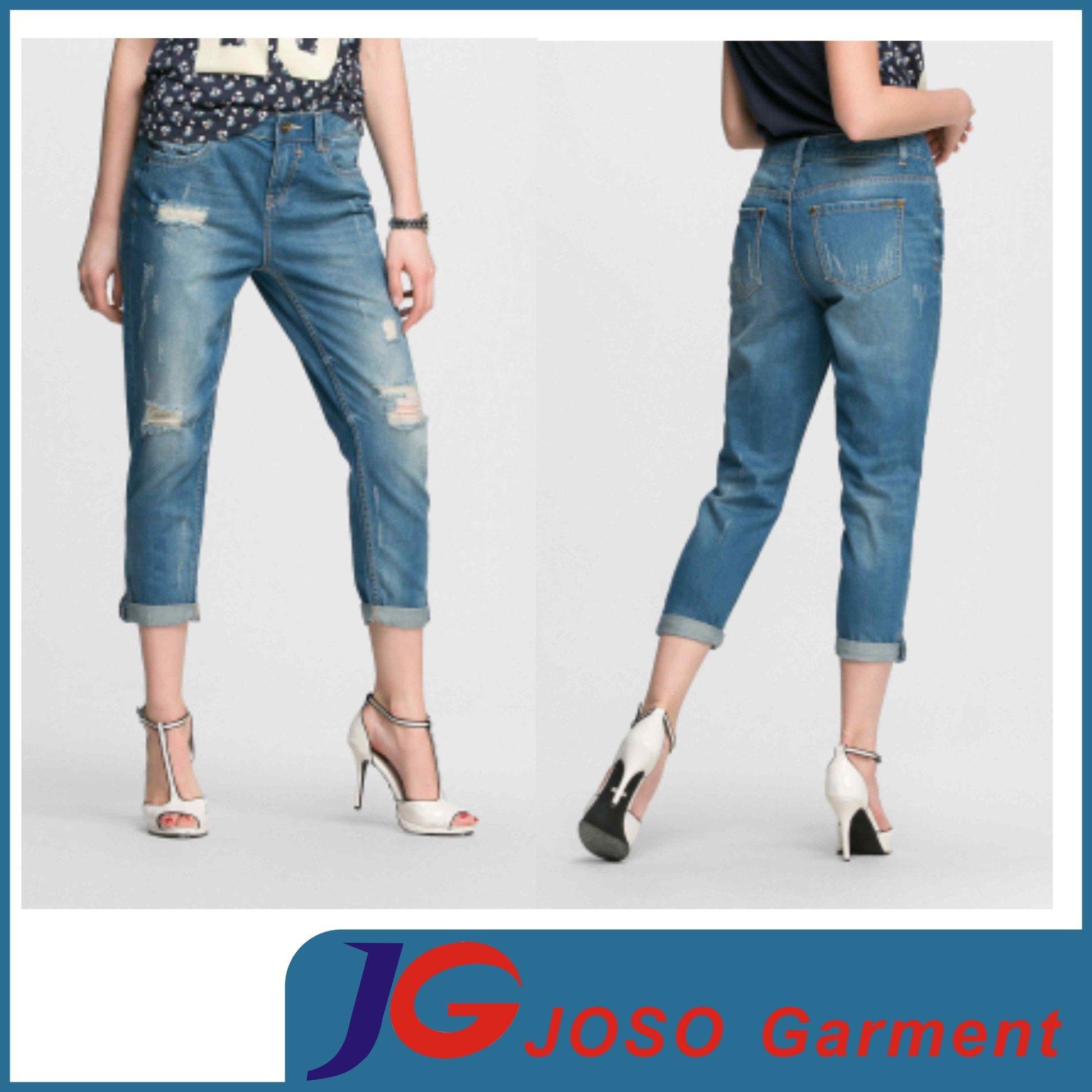 55f5d17df Mulheres calças de ganga Senhora Jeans Loja on-line Cufled Jean (JC1361)