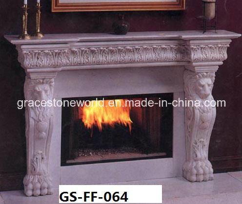 chemin e en marbre sculpt avec d coration de t te de lion photo sur fr made in. Black Bedroom Furniture Sets. Home Design Ideas