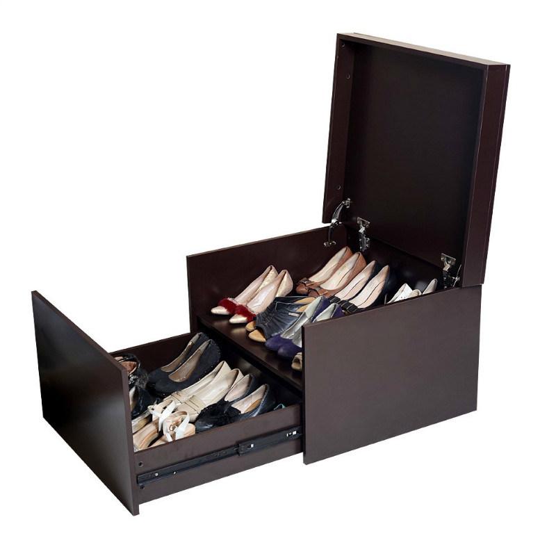 Kundenspezifisches Firmenzeichen-hölzerner Melamin Kraftstoffregler-Spanplatten-riesiger Schuh-Kasten China-Fushi für Frauen-oder Mädchen-Speicher-Lieblings-Schuhe