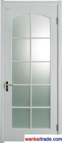 Стекловолоконные твердые деревянные двери из дуба или розового дерева с использованием стекла, внутренние двери двери с помощью воска готово, модель СММ005