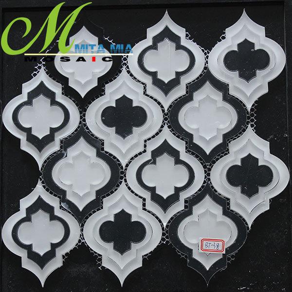 Branco e preto elegante design com mosaicos de vidro marítimas para Decoração de parede de azulejos