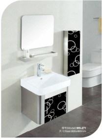 陶磁器の洗面器が付いている浴室用キャビネット- 1