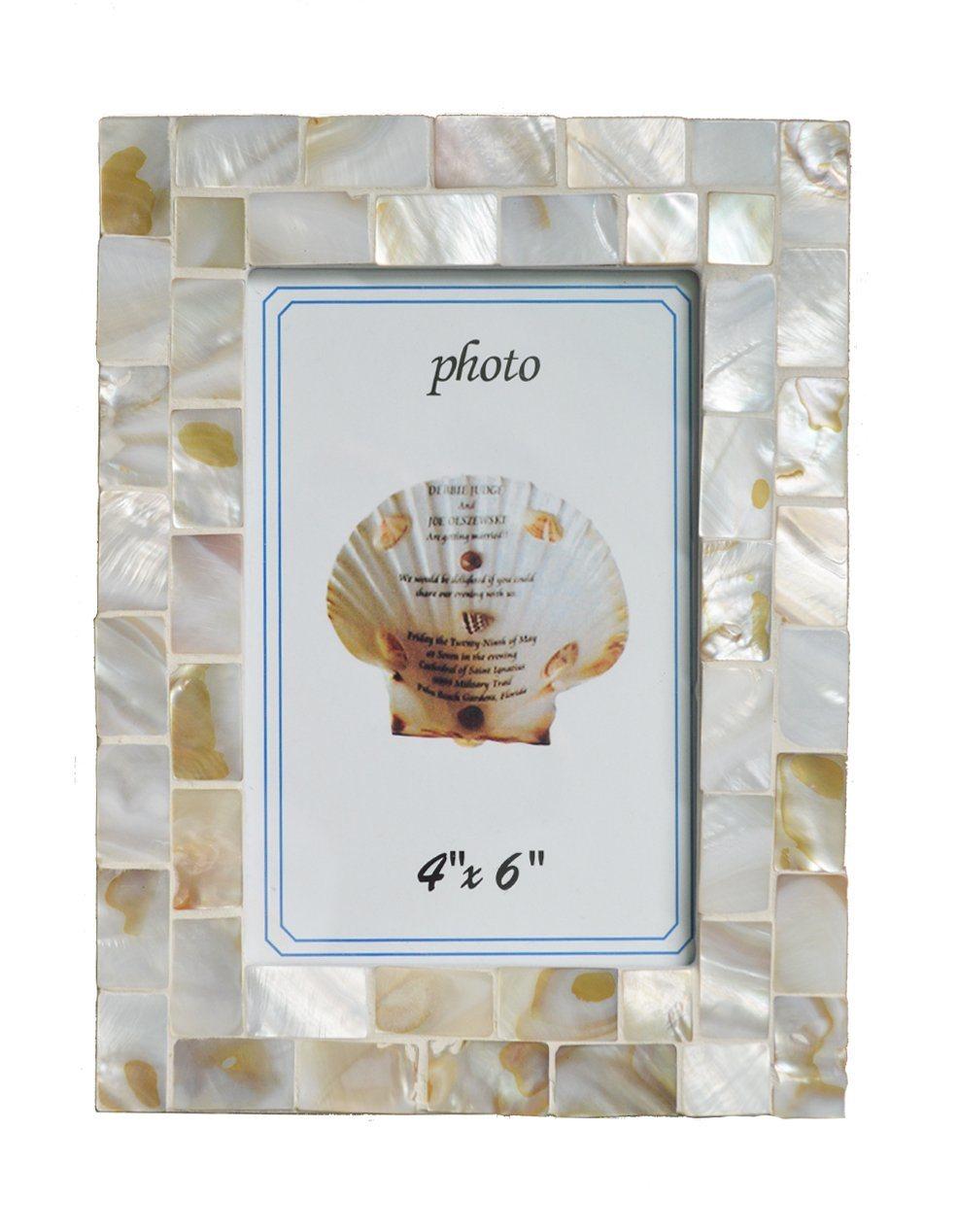 Mosaico de nácar Marco de fotos, 4x6 pulgadas, blanco – Mosaico de ...