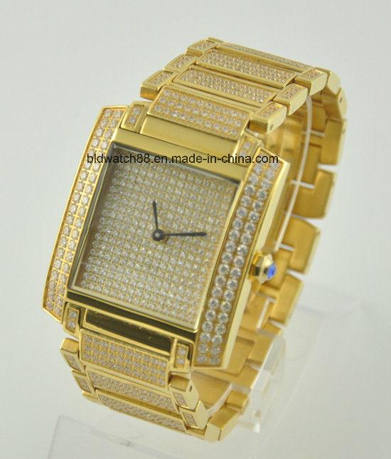 Hochwertige quadratische Fallmens-Goldform-Stahluhr mit Diamanten