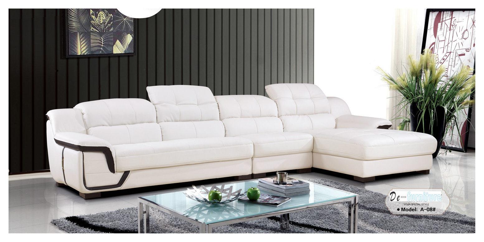 Foto de Sofá de color blanco, sofá de cuero, modernos muebles de ...