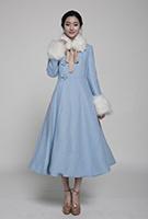 Overjas van de Bovenkleding van de Uitstekende Vrouwen van de Lelie van de bloem de 2014 Geborduurde middelgroot-Lange Wollen