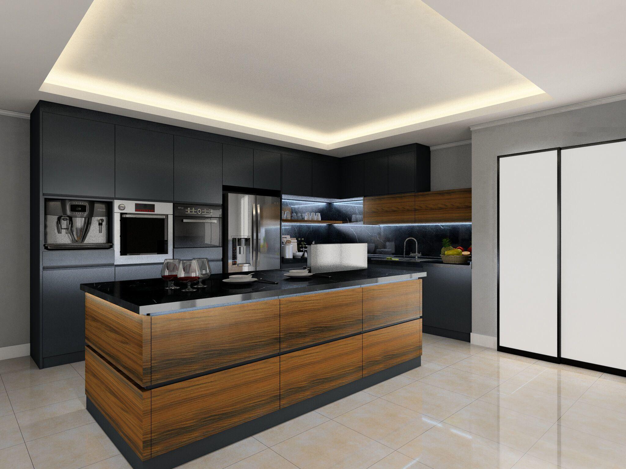 Foto de Muebles de cocina de moderno diseño en color gris mezcla de ...