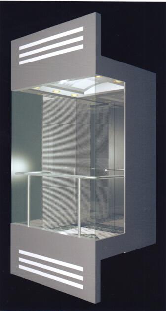 Panoramische lift met glazen cabine en roestvrijstalen cabine