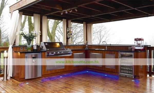 Cucina esterna dellinserto in rilievo moderno con illuminazione del