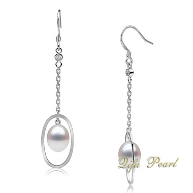 925 CZ (EA0499)が付いている銀製の淡水の真珠の低下イヤリングの宝石類