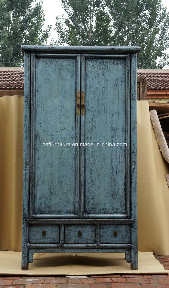 China Azul de antigüedades de madera maciza de olmo chino