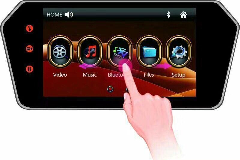 HD plein écran tactile du moniteur de rétroviseur avec fonction Bluetooth