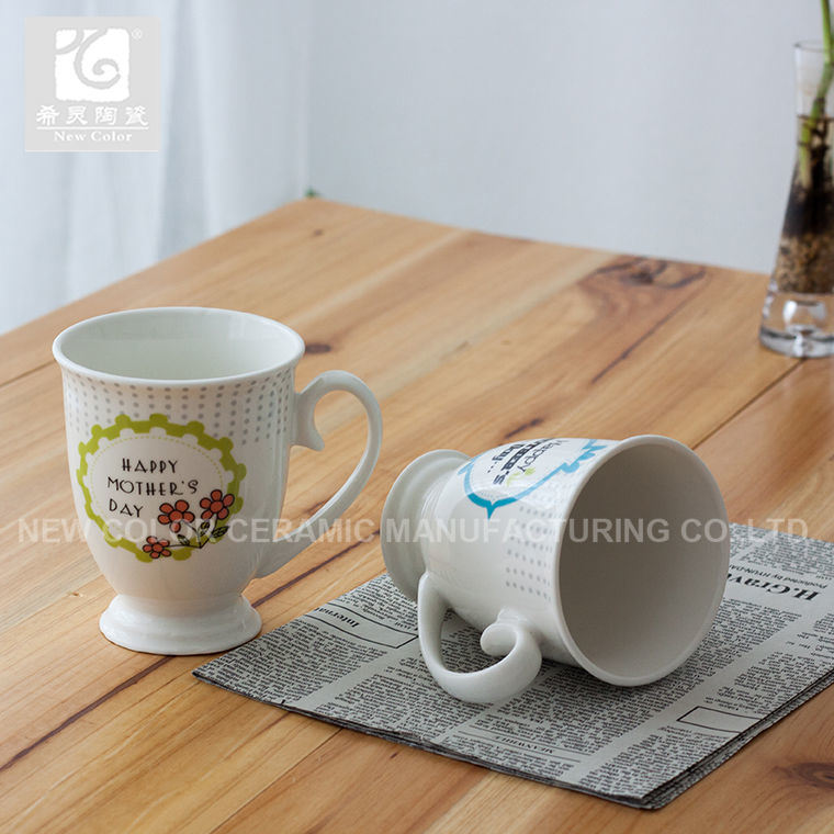 11oz Liling 사기그릇 커피 잔 또는 대중적인 전사술 디자인