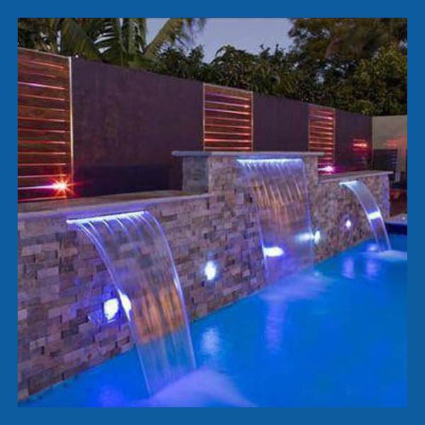 Cascada de spa con luz led cascada de agua para piscina for Cascadas artificiales de agua para piscinas