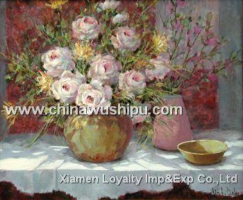 オイルの絵画古典的な花