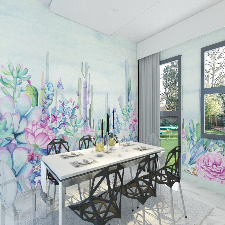 Behang van de Muurschildering van de Bloem van de Cactus van de douane het Zelfklevende voor het Decor van het Huis van de Zaal van het Bed